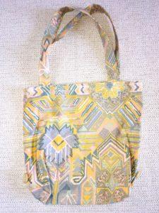 sac shopping farigoulette motifs bleus et jaunes